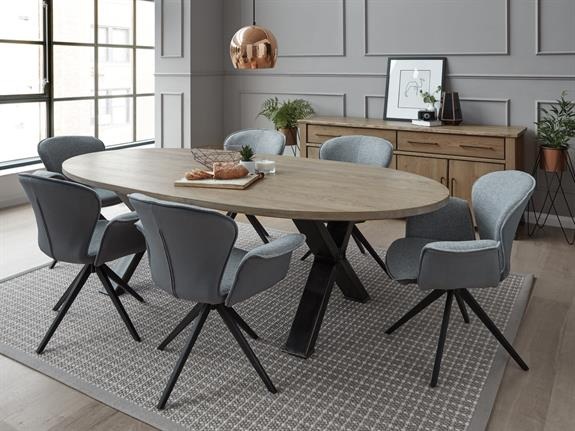 Oval Dining Table With Forged Steel Cross Legs & Barkington | Oval Dining Table with forged steel cross legs | Buy at ...