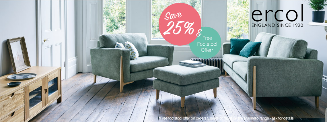 Ercol sofas & armchairs plus free footstool